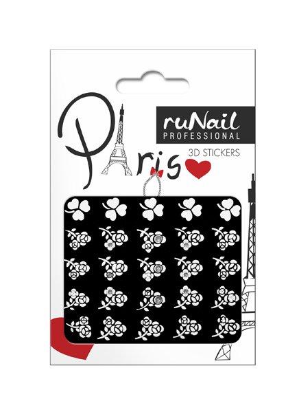 ruNail, 3D Наклейки для дизайна ногтей № 1665Наклейки для дизайна ногтей<br>Самоклеящиеся наклейки для дизайна ногтей. Белые цветы.<br>