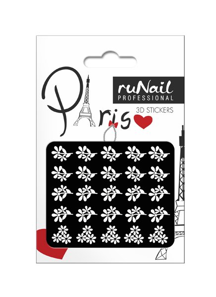 ruNail, 3D Наклейки для дизайна ногтей № 1666Наклейки для дизайна ногтей<br>Самоклеящиеся наклейки для дизайна ногтей. Белые цветы.<br>