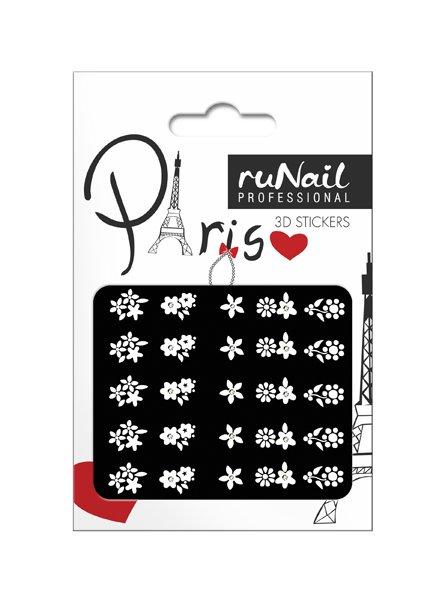 ruNail, 3D Наклейки для дизайна ногтей № 1667Наклейки для дизайна ногтей<br>Самоклеящиеся наклейки для дизайна ногтей. Белые цветы.<br>