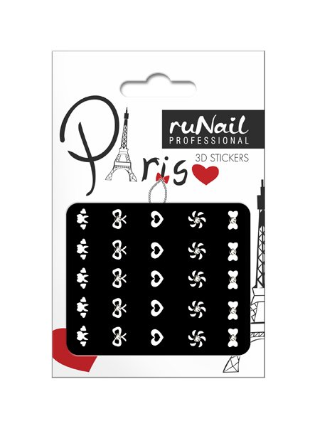 ruNail, 3D Наклейки для дизайна ногтей № 1668Наклейки для дизайна ногтей<br>Самоклеящиеся наклейки для дизайна ногтей. Белые фигурки.<br>