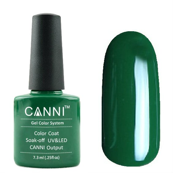 Canni, Гель-лак №134 (7.3 мл)Canni<br>Гель-лак насыщенный тёмно-зелёный, плотный.<br>