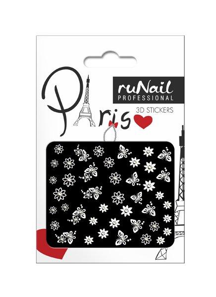 ruNail, 3D Наклейки для дизайна ногтей № 1671Наклейки для дизайна ногтей<br>Самоклеящиеся наклейки для дизайна ногтей. Белые цветы.<br>