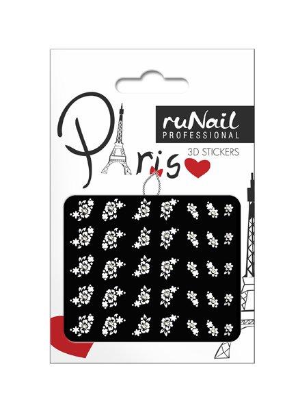 ruNail, 3D Наклейки для дизайна ногтей № 1673Наклейки для дизайна ногтей<br>Самоклеящиеся наклейки для дизайна ногтей. Белые цветы.<br>