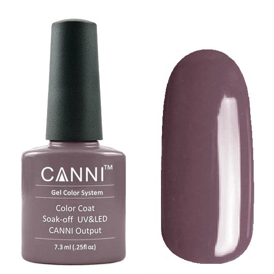 Canni, Гель-лак №170 (7.3 мл)Canni<br>Гель-лак пудрово-баклажанный, без перламутра, плотный.<br>