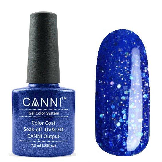 Canni, Гель-лак №185 (7.3 мл)Canni<br>Гель-лак полупрозрачный ярко-синий с глиттером.<br>