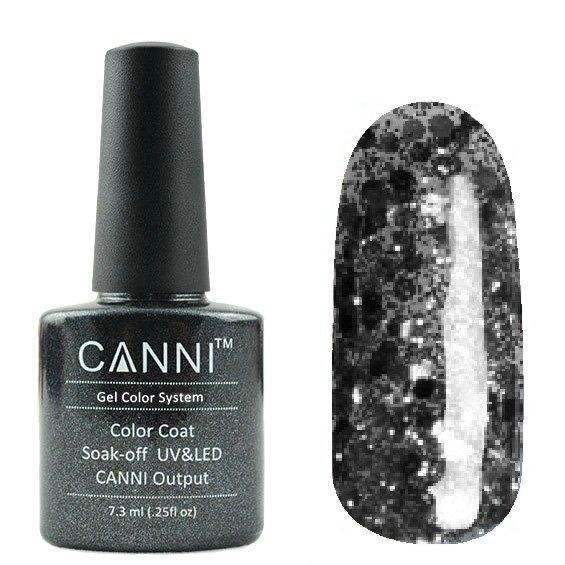 Canni, Гель-лак №187 (7.3 мл)Canni<br>Гель-лак прозрачный с чёрным глиттером.<br>