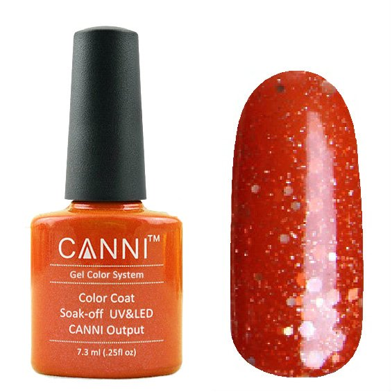 Canni, Гель-лак №191 (7.3 мл)Canni<br>Гель-лак полупрозрачный клубничный с глиттером.<br>