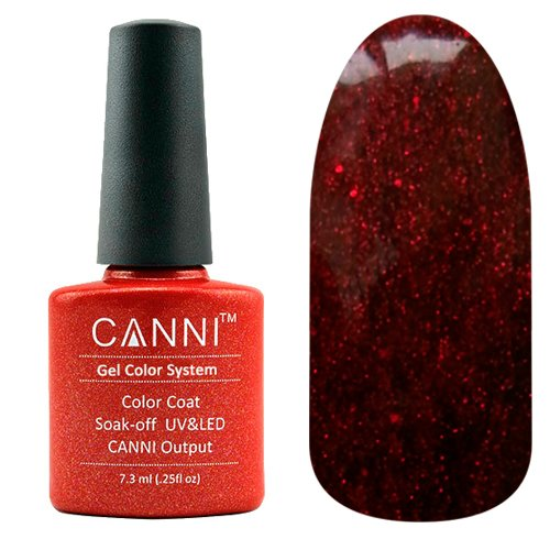 Canni, Гель-лак №207 (7.3 мл)Canni<br>Гель-лак красный полупрозрачный с рубиновым микроблеском.<br>