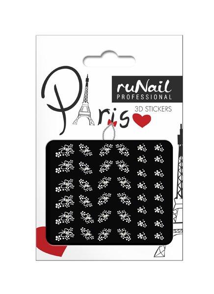 ruNail, 3D Наклейки для дизайна ногтей № 1678Наклейки для дизайна ногтей<br>Самоклеящиеся наклейки для дизайна ногтей. Белые цветы.<br>