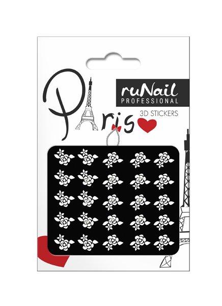 ruNail, 3D Наклейки для дизайна ногтей № 1679Наклейки для дизайна ногтей<br>Самоклеящиеся наклейки для дизайна ногтей. Белые цветы.<br>