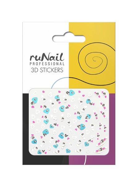 ruNail, 3D Наклейки для дизайна ногтей № 1685Наклейки для дизайна ногтей<br>Самоклеящиеся наклейки для дизайна ногтей. Сердечки.<br>