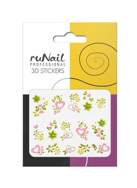 ruNail, 3D Наклейки для дизайна ногтей № 1687Наклейки для дизайна ногтей<br>Самоклеящиеся наклейки для дизайна ногтей. Цветы и сердца.<br>