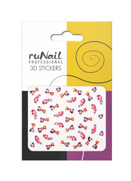 ruNail, 3D Наклейки для дизайна ногтей № 1688Наклейки для дизайна ногтей<br>Самоклеящиеся наклейки для дизайна ногтей. Сердечки.<br>