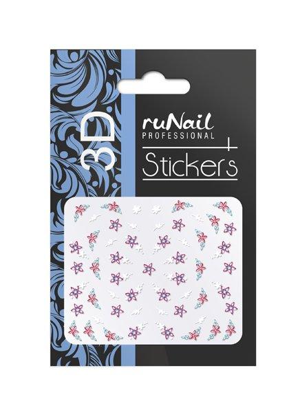 ruNail, 3D Наклейки для дизайна ногтей № 1689Наклейки для дизайна ногтей<br>Самоклеящиеся наклейки для дизайна ногтей. Цветы.<br>