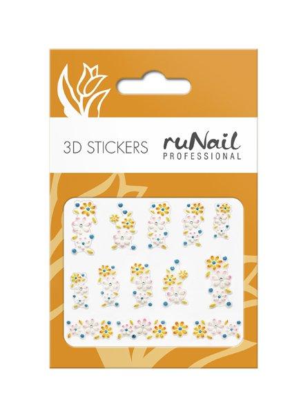 ruNail, 3D Наклейки для дизайна ногтей № 1691Наклейки для дизайна ногтей<br>Самоклеящиеся наклейки для дизайна ногтей. Цветы.<br>