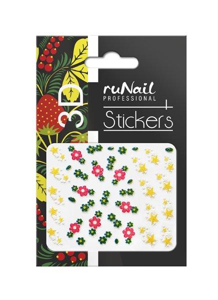 ruNail, 3D Наклейки для дизайна ногтей № 1692Наклейки для дизайна ногтей<br>Самоклеящиеся наклейки для дизайна ногтей. Цветы и звездочки.<br>