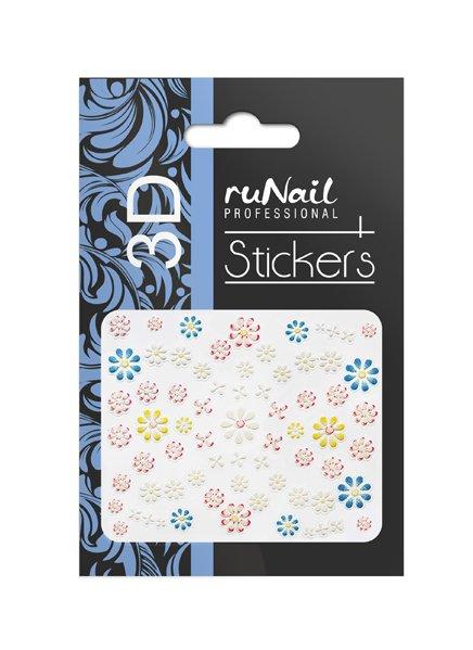 ruNail, 3D Наклейки для дизайна ногтей № 1693Наклейки для дизайна ногтей<br>Самоклеящиеся наклейки для дизайна ногтей. Цветы.<br>