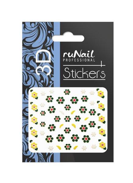 ruNail, 3D Наклейки для дизайна ногтей № 1694Наклейки для дизайна ногтей<br>Самоклеящиеся наклейки для дизайна ногтей. Цветы.<br>