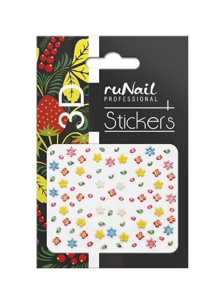 ruNail, 3D Наклейки для дизайна ногтей № 1695Наклейки для дизайна ногтей<br>Самоклеящиеся наклейки для дизайна ногтей. Цветы.<br>