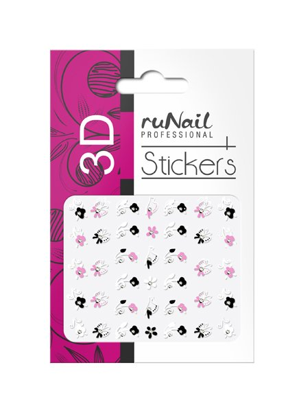 ruNail, 3D Наклейки для дизайна ногтей № 1699Наклейки для дизайна ногтей<br>Самоклеящиеся наклейки для дизайна ногтей. Цветы.<br>