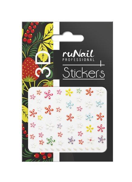 ruNail, 3D Наклейки для дизайна ногтей № 1705Наклейки для дизайна ногтей<br>Самоклеящиеся наклейки для дизайна ногтей. Цветы.<br>