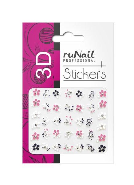 ruNail, 3D Наклейки для дизайна ногтей № 1706Наклейки для дизайна ногтей<br>Самоклеящиеся наклейки для дизайна ногтей. Цветы.<br>