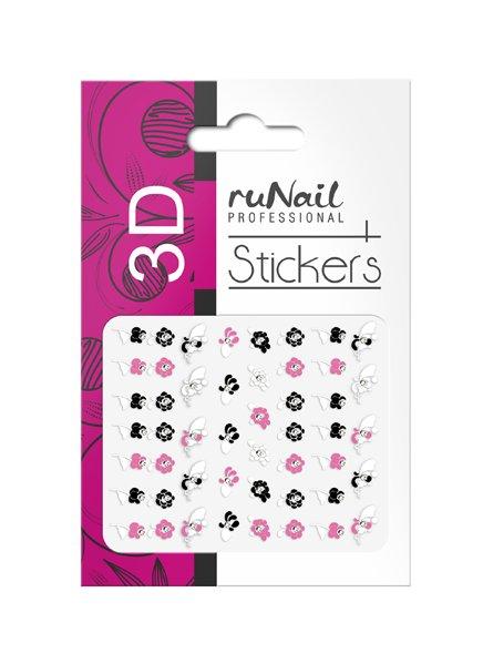 ruNail, 3D Наклейки для дизайна ногтей № 1709Наклейки для дизайна ногтей<br>Самоклеящиеся наклейки для дизайна ногтей. Цветы.<br>
