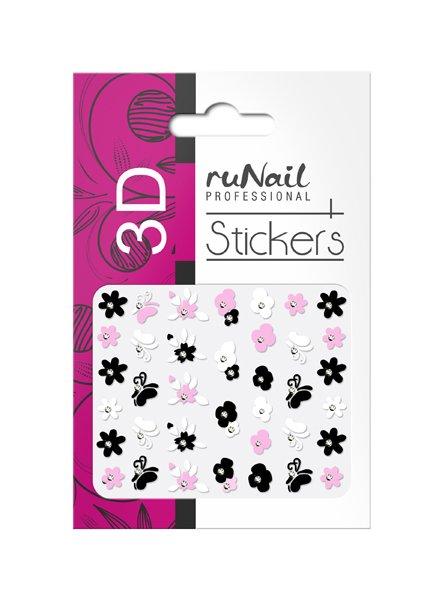 ruNail, 3D Наклейки для дизайна ногтей № 1710Наклейки для дизайна ногтей<br>Самоклеящиеся наклейки для дизайна ногтей. Цветы.<br>