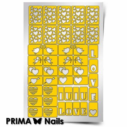 PrimaNails, Трафарет для дизайна ногтей - День ВлюбленныхPrimaNails<br>Самоклеющиеся трафареты<br>