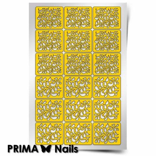 PrimaNails, Трафарет для дизайна ногтей - Принт ЛепесткиPrimaNails<br>Самоклеющиеся трафареты<br>