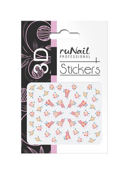 ruNail, 3D Наклейки для дизайна ногтей № 1712Наклейки для дизайна ногтей<br>Самоклеящиеся наклейки для дизайна ногтей. Цветы.<br>