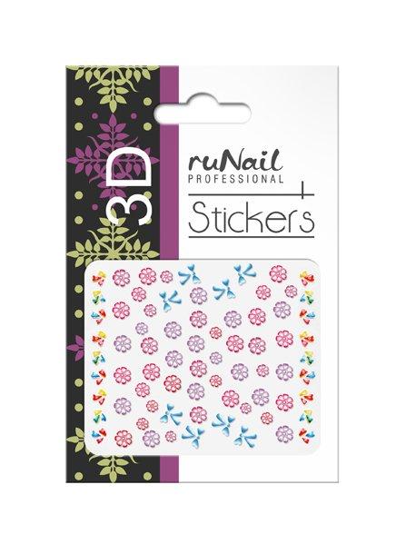ruNail, 3D Наклейки для дизайна ногтей № 1713Наклейки для дизайна ногтей<br>Самоклеящиеся наклейки для дизайна ногтей. Цветы и бантики.<br>