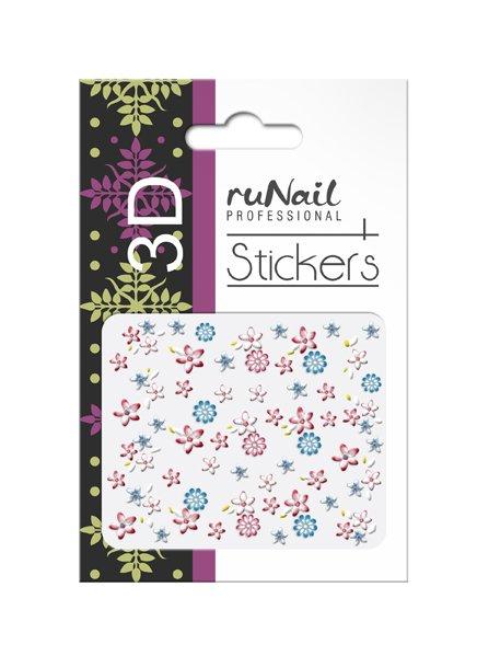 ruNail, 3D Наклейки для дизайна ногтей № 1719Наклейки для дизайна ногтей<br>Самоклеящиеся наклейки для дизайна ногтей. Цветы.<br>