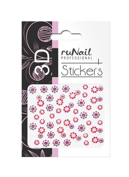 ruNail, 3D Наклейки для дизайна ногтей № 1721Наклейки для дизайна ногтей<br>Самоклеящиеся наклейки для дизайна ногтей. Цветы.<br>