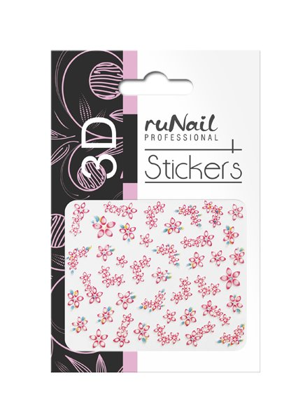 ruNail, 3D Наклейки для дизайна ногтей № 1722Наклейки для дизайна ногтей<br>Самоклеящиеся наклейки для дизайна ногтей. Цветы.<br>