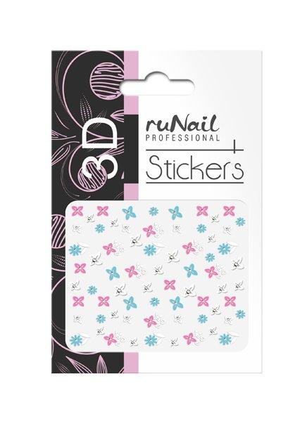 ruNail, 3D Наклейки для дизайна ногтей № 1723Наклейки для дизайна ногтей<br>Самоклеящиеся наклейки для дизайна ногтей. Цветы.<br>