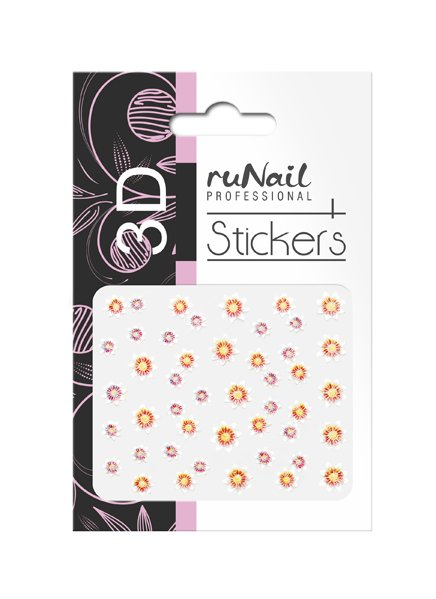 ruNail, 3D Наклейки для дизайна ногтей № 1727Наклейки для дизайна ногтей<br>Самоклеящиеся наклейки для дизайна ногтей. Цветы.<br>