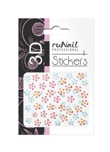 ruNail, 3D Наклейки для дизайна ногтей № 1728Наклейки для дизайна ногтей<br>Самоклеящиеся наклейки для дизайна ногтей. Цветы.<br>