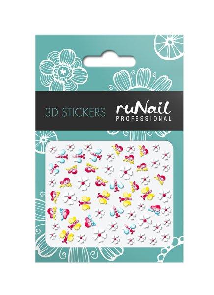 ruNail, 3D Наклейки для дизайна ногтей № 1734Наклейки для дизайна ногтей<br>Самоклеящиеся наклейки для дизайна ногтей. Цветы и бабочки.<br>