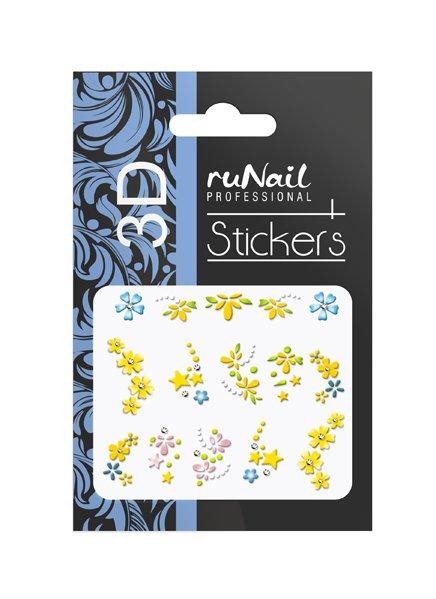 ruNail, 3D Наклейки для дизайна ногтей № 1735Наклейки для дизайна ногтей<br>Самоклеящиеся наклейки для дизайна ногтей. Цветы.<br>