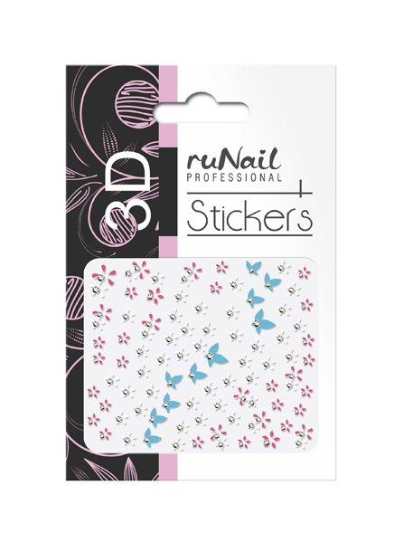 ruNail, 3D Наклейки для дизайна ногтей № 1736Наклейки для дизайна ногтей<br>Самоклеящиеся наклейки для дизайна ногтей. Цветы и бабочки.<br>