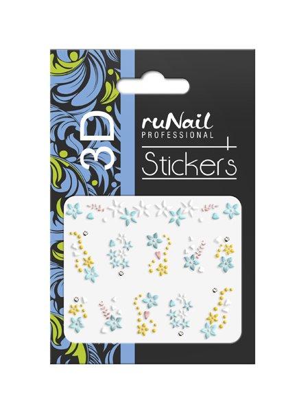 ruNail, 3D Наклейки для дизайна ногтей № 1737Наклейки для дизайна ногтей<br>Самоклеящиеся наклейки для дизайна ногтей. Цветы.<br>