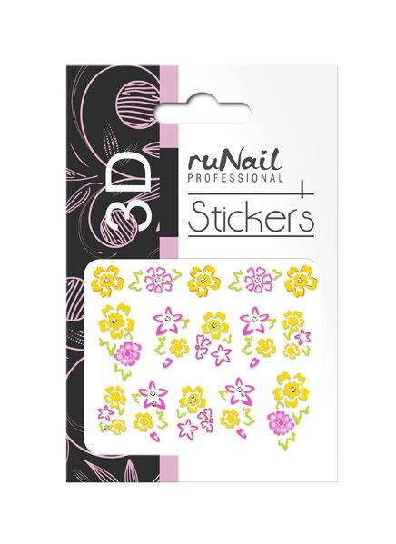 ruNail, 3D Наклейки для дизайна ногтей № 1738Наклейки для дизайна ногтей<br>Самоклеящиеся наклейки для дизайна ногтей. Цветы.<br>