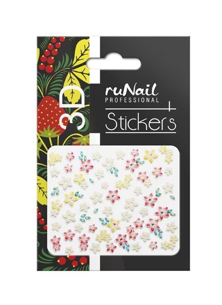 ruNail, 3D Наклейки для дизайна ногтей № 1739Наклейки для дизайна ногтей<br>Самоклеящиеся наклейки для дизайна ногтей. Цветы.<br>
