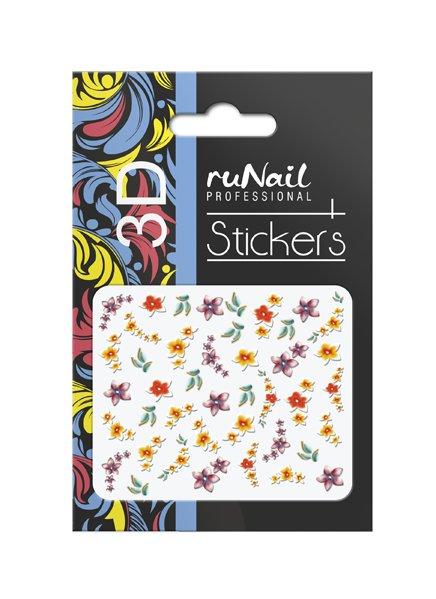 ruNail, 3D Наклейки для дизайна ногтей № 1740Наклейки для дизайна ногтей<br>Самоклеящиеся наклейки для дизайна ногтей. Цветы.<br>