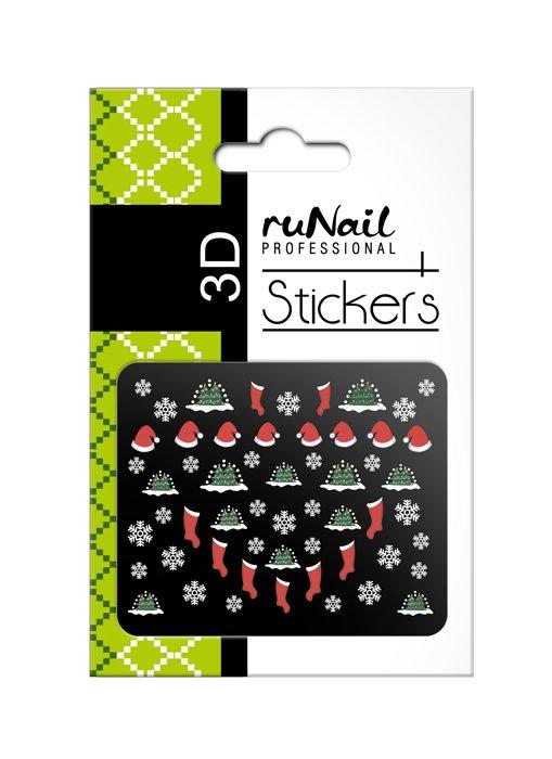 ruNail, 3D Наклейки для дизайна ногтей № 2049Наклейки для дизайна ногтей<br>Самоклеящиеся новогодние цветные наклейки для дизайна ногтей.<br>