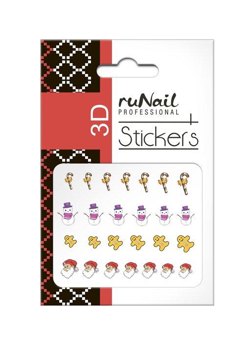 ruNail, 3D Наклейки для дизайна ногтей № 2052Наклейки для дизайна ногтей<br>Самоклеящиеся новогодние цветные наклейки для дизайна ногтей.<br>
