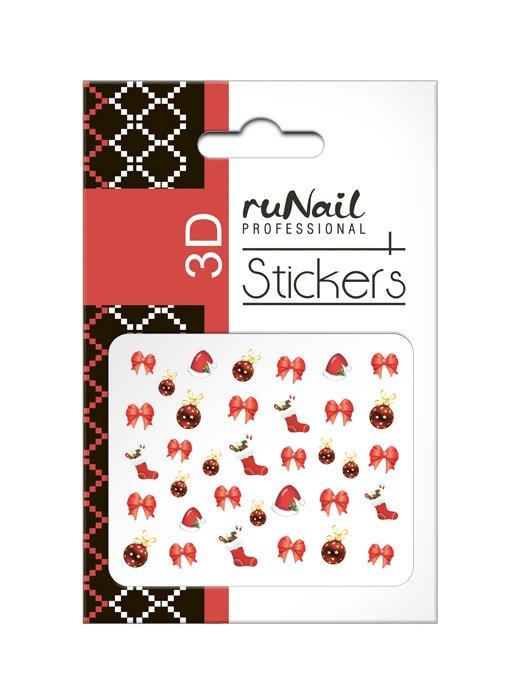 ruNail, 3D Наклейки для дизайна ногтей № 2056Наклейки для дизайна ногтей<br>Самоклеящиеся новогодние цветные наклейки для дизайна ногтей.<br>