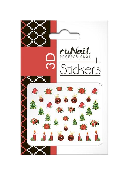 ruNail, 3D Наклейки для дизайна ногтей № 2059Наклейки для дизайна ногтей<br>Самоклеящиеся новогодние цветные наклейки для дизайна ногтей.<br>