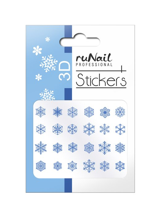 ruNail, 3D Наклейки для дизайна ногтей № 2076Наклейки для дизайна ногтей<br>Самоклеящиеся новогодние наклейки для дизайна ногтей. Снежинки, голубые.<br>